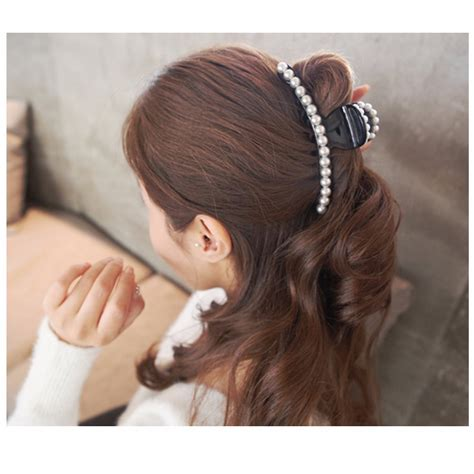 hair ties for long hair where it was invented elegant large artificial pearls hair accessories cute