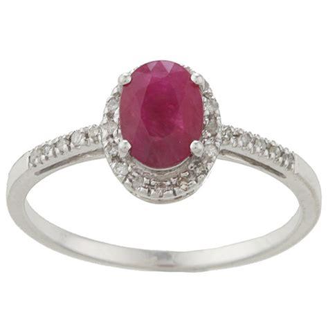 10k white gold genuine ruby and ring 1 8 tdw ebay