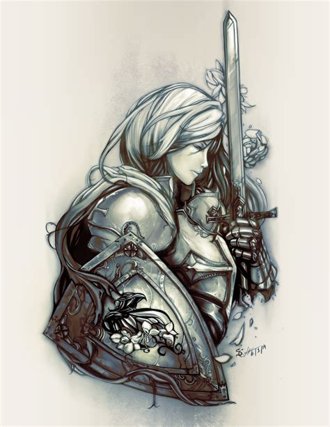 female crusader tattoo monochrome by scrubbyink on deviantart
