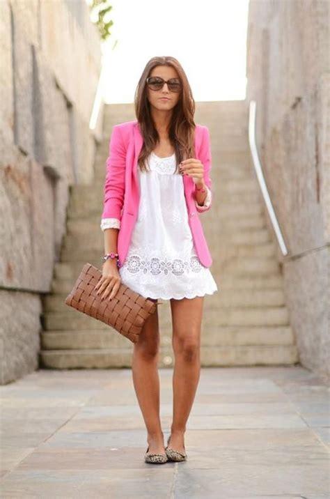 dress blazer pink white summer dress pink blazer my style