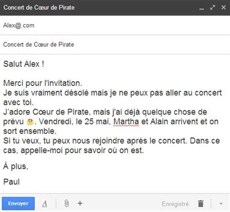Invitation Letter En Francais Refuser Une Invitation En Fran 231 Ais