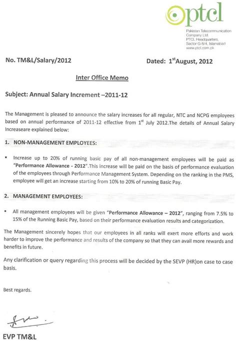 salary increment format new salary increment letter format by