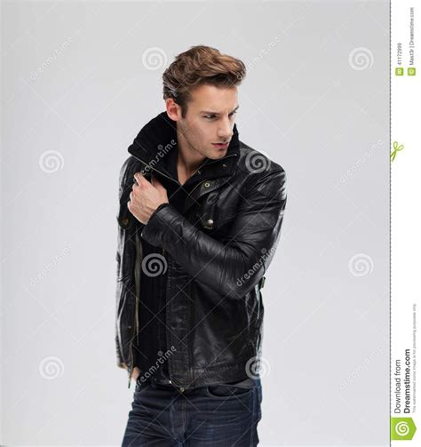 New Fashion Time Leather fashion model leather jacket gray background stock image image of jacket 41172999