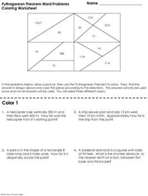 Pythagorean Theorem Word Problems Worksheet by Coloring Worksheets Pythagorean Theorem And Word Problems