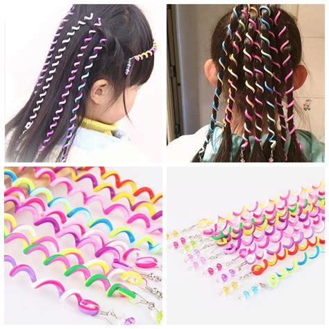 hair plaits for coloured kids 6 pcs set kids curler hair braid hair sticker kids girls