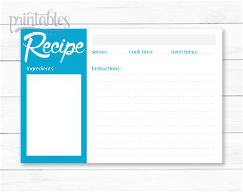 blue recipe card template minimalist 4x6 recipe cards