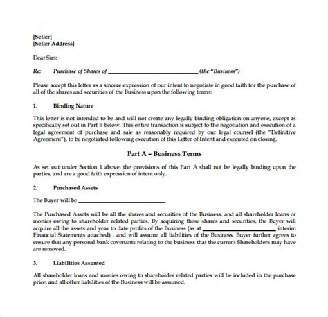 letter of intent to purchase business 8 free sles exles formats