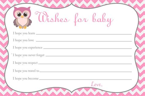 baby shower wish cards template baby shower wishes for baby card owl baby shower