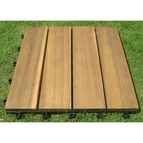 Interlocking Wood Floor by Vifah 174 4 Slat Design Plantation Teak Interlocking Wood