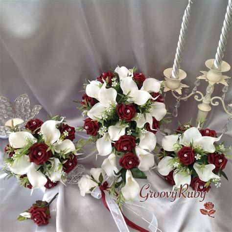And Bridesmaid Flowers by Burgundy White Calla Bouquet Bridesmaid