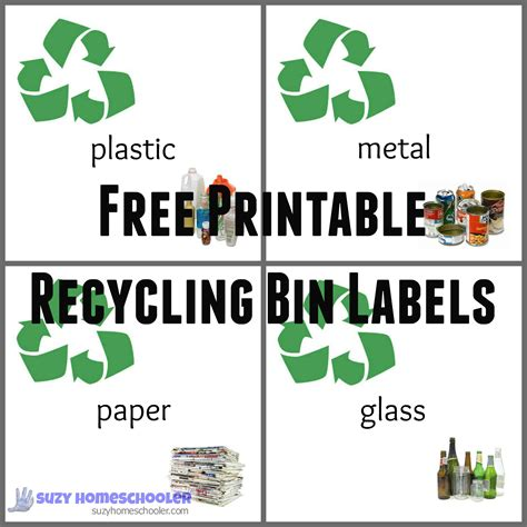 printable recycle stickers diy home recycling station free printable recycling bin