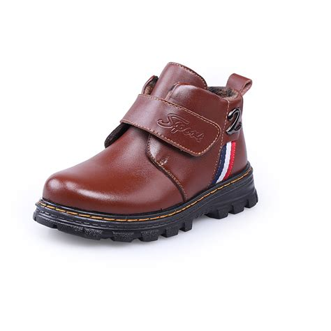 new genuine leather boys boots winter waterproof snow