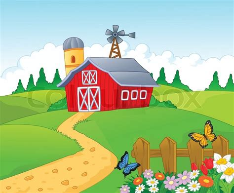 scheune comic vector illustration of farm background stock