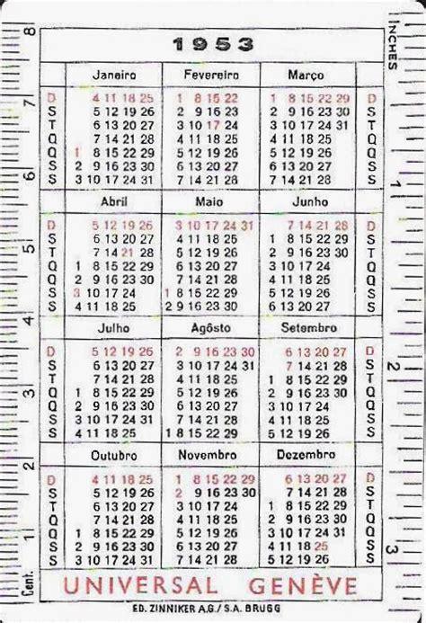 Calendario De 1953 Esta 231 227 O Cronogr 225 Fica Memorabilia Calend 225 Rel 243 Gios