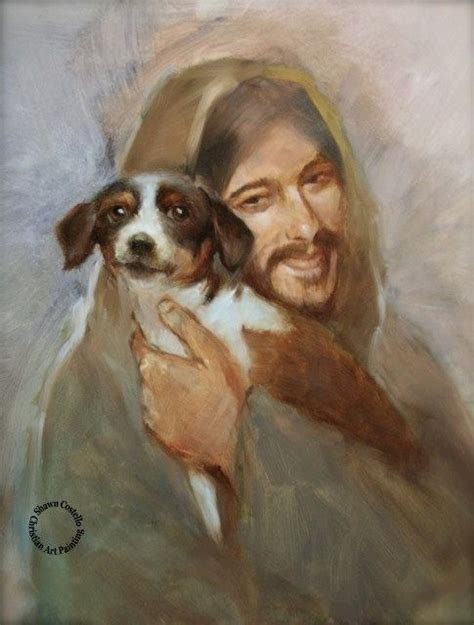 jesus in dogs safe in his everlasting arms jesus with small