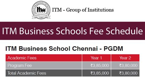 Business School Mba Dates by Itm Business School Chennai Fees Schedule For Itm