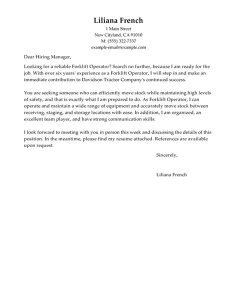 cover letter exles for resume warehouse best forklift operator cover letter exles livecareer