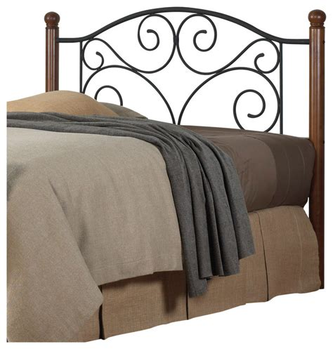 traditional headboards doral headboard with wood posts and metal grill dark