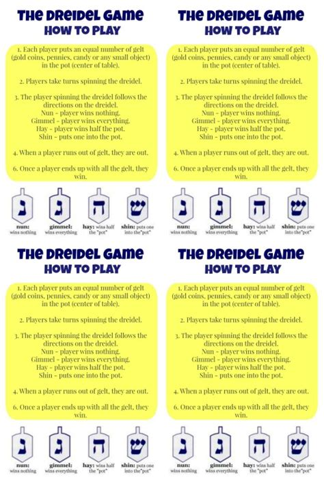 printable directions on how to play dreidel how to play dreidel and a pretty cool printable