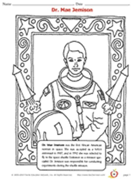dr mae jemison coloring page african american history