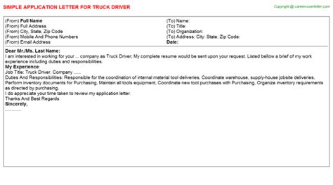 application letter for truck driver position truck driver title docs