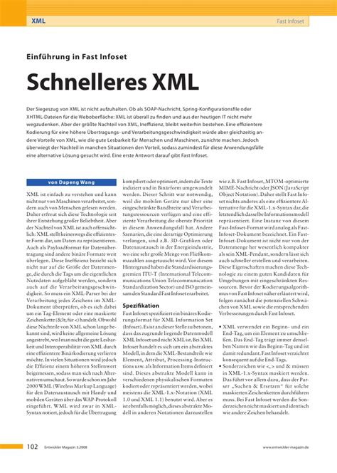 xml pattern or tutorial xml fastinfoset einfuehrung