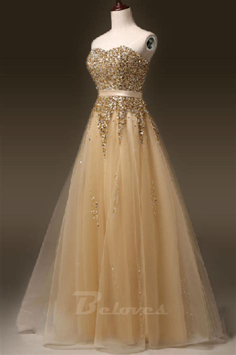 gold beaded prom dress gold tulle sweetheart beaded a line formal prom dress