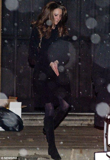 kate middleton braves the snow in favourite black