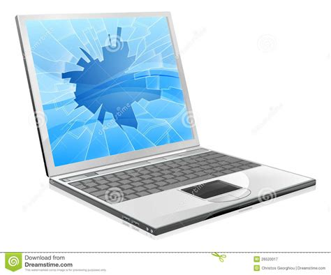 Laptop Or Desk Top by Laptop With Broken Screen Royalty Free Stock Photography
