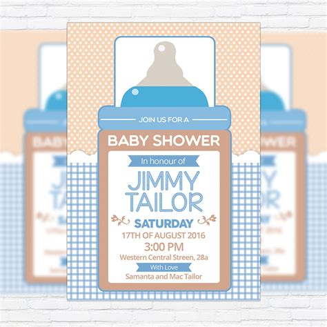 baby shower for boy 2 premium business flyer psd
