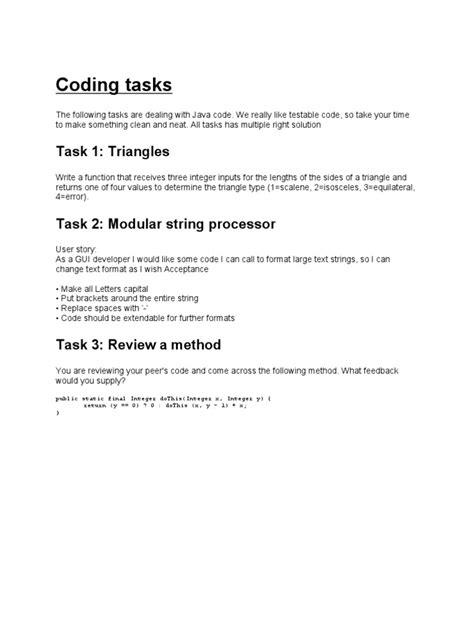 Coding Tasks | String (Computer Science) | Integer