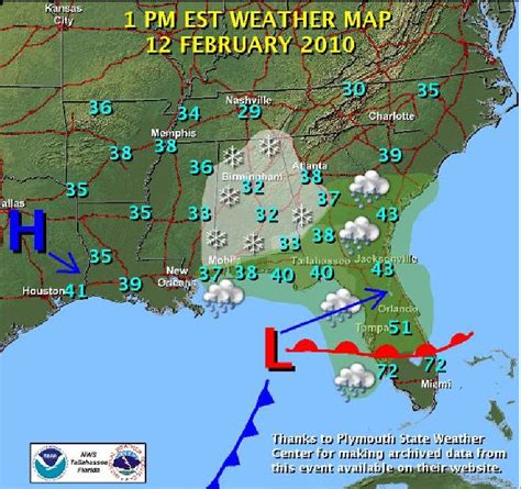 florida weather map snowstorm of february 12 2010