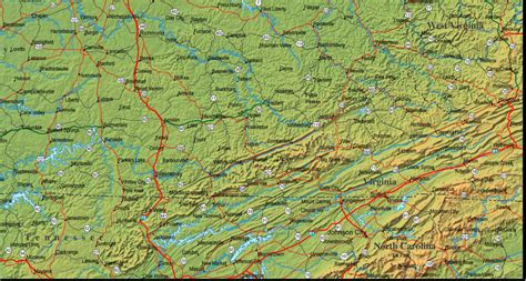 physical map of kentucky kentucky map