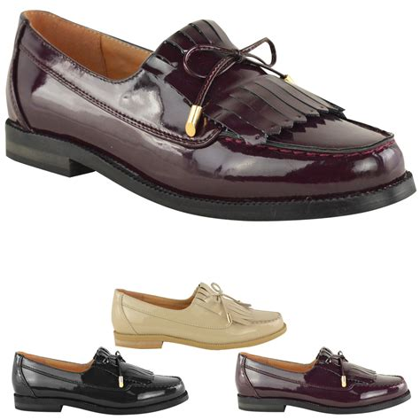Office Shoes New Womens Loafer Flat Shoes Office Work Fringe Bow