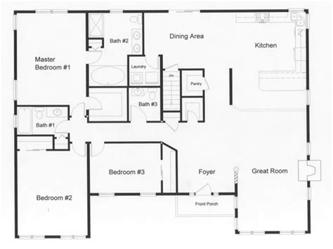 3 Bedroom Ranch Home Plans by 3 Bedroom Ranch House Open Floor Plans Three Bedroom Two