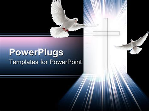 Powerpoint Template Christian Cross Glowing With Light Powerplugs Powerpoint Templates