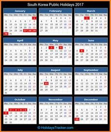 Calendar Korea South Korea Holidays 2017 Holidays Tracker