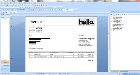 design invoice crystal report how to create an invoice using sap crystal reports