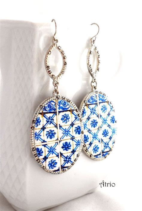 azulejo earrings portugal blue azulejo antique tiles replica earrings from