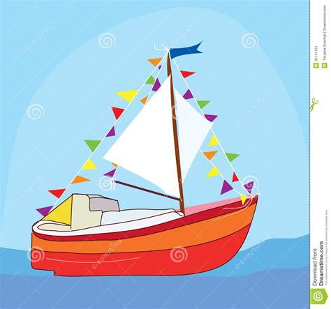 cartoon boat sound funny yacht at the sea stock image image 31741151