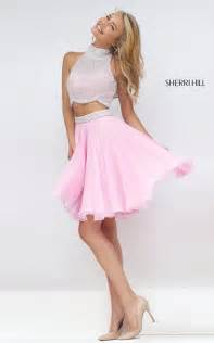 chiffon sherri hill two piece short prom dress 50179
