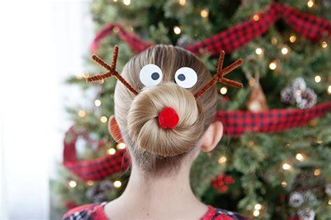 christmas tree girls hair do silly reindeer hairdo