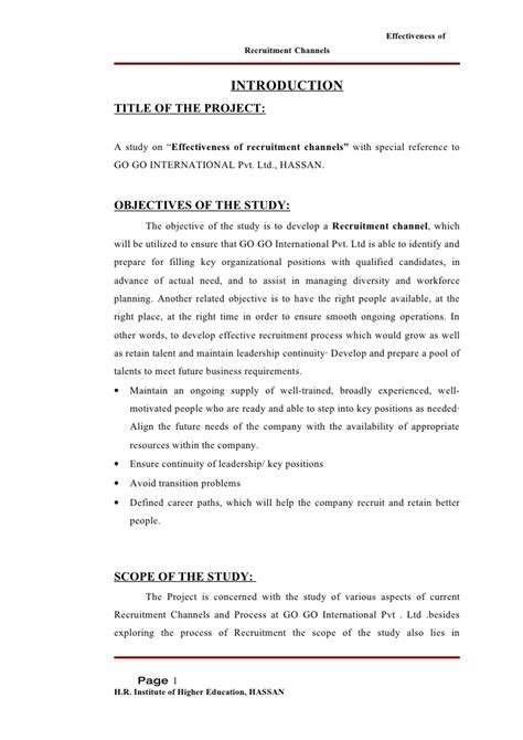 Questionnaire On Recruitment And Selection For Mba by A Study On The Effectiveness Of Recruitment Channels