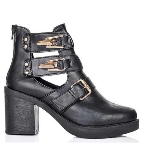 buy blanca heeled cut out platform ankle boots black