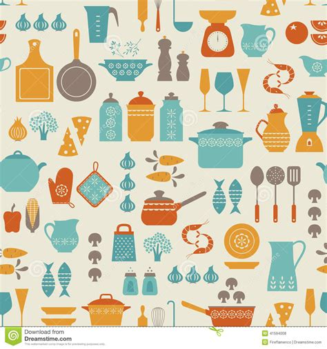kitchen pattern background kitchen pattern stock vector image 41594008