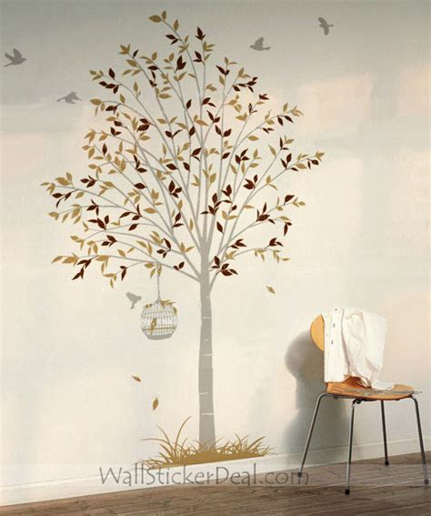 wall stickers trees and birds birds flying around tree nature wall stickers wallstickerdeal