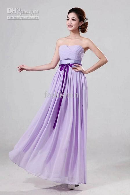 cheap light purple chiffon bridesmaid dress with floor