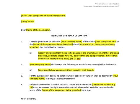 Termination Letter Format For Breach Of Contract breach of contract notice template uk template