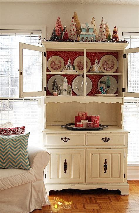 christmas china cabinet decorating christmas china