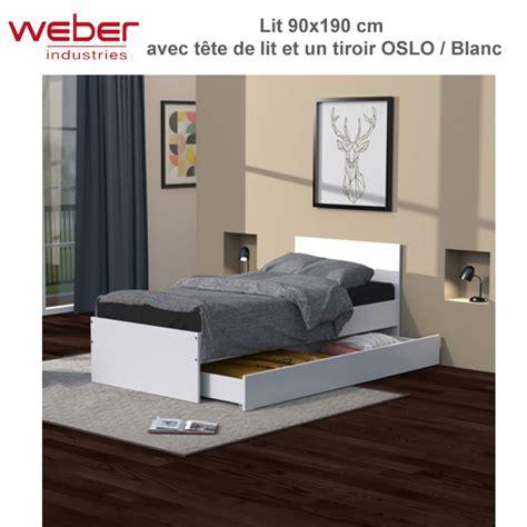 Lit Avec Tiroir 90x190 by Lit Oslo 90x190 Blanc Tiroir T 234 Te De Lit